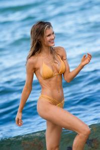 Joy Corrigan in a bikini on the set of a photoshoot at Miami Beach 7/12/18