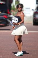 Nia Long - Playing ball in a parking lot in Malibu 07/16/2018