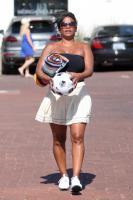 Nia Long playing ball in a parking lot in Malibu 07/16/201875805244_75768187_nia-long_16072018p_03