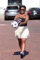 Nia Long playing ball in a parking lot in Malibu 07/16/201875805288_75768189_nia-long_16072018p_04
