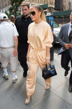 Jennifer Lopez arriving at an office building in NYC 7/31/18