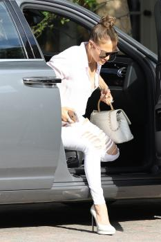 Jennifer Lopez - In Ripped, Skinny Jeans Going To A Studio (7/11/18)